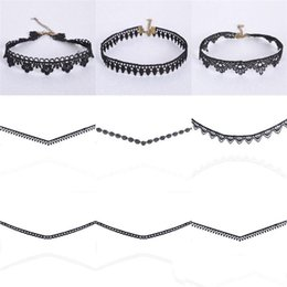 Wholesale Types Choker Necklaces - 7 TYPE Simple Black Lace Choker Necklace for Women Necklaces Bride Wedding Jewelry Statement Jewelry Christmas Gifts