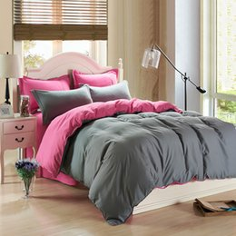 Wholesale Solid Color Quilted Bedding King - Wholesale- Contemporary Korea Solid Two Sides Design Bedding Set Duvet Cover Bed Sheet Pillow Cases 4 Pcs Kit King Queen Twin Size