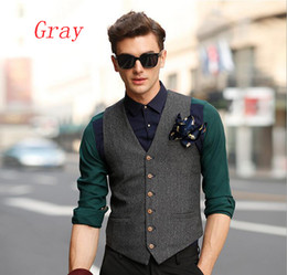 Wholesale Groom Trousers - 2017 Fashionable Men 's Suits Vest Business Bridal US Trousers Casual Vests Fitted Slim Groom Vests V03