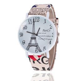 2019 reloj paris eiffel Reloj de cuero Ginebra resumen creativo disco la Torre Eiffel en París novias reloj de pulsera señoras estudiantes de moda relojes casuales regalo reloj paris eiffel baratos