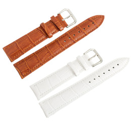 Wholesale Leather Wrist Watches Prices - Wholesale-Low Price Wholesale quality genuine leather Wrist Watch Band Watch Strap Steel Buckle white Light Brown 12,14,16,18,20,22,24mm