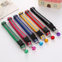 Wholesale Reflect Color - Dog Cat Nylon Collar Reflect Light with Bell Adjustable Fashion Available in 6 Colors Makes Your Dog Visible Safe & Seen Blinking