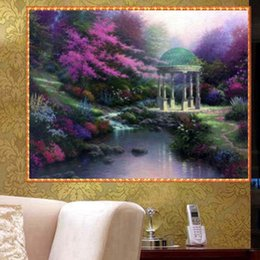 Wholesale Natural Oil Paintings Canvas - YGS-441 DIY Full 5D Diamond Embroider The Natural Round Diamond Painting Cross Stitch Kits Diamond Mosaic Home Decor