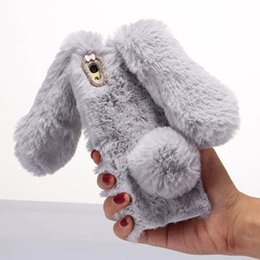 Wholesale Phone Rabbit - for iPhone 6s iphone7 7plus TPU Bag Cover Cute Cases Rabbit Bunny Warm Furry Fur TPU Phone Case for Sony Xperia XA
