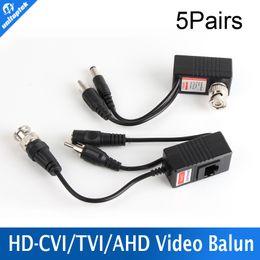Wholesale Audio Power Cable Cctv - 5 Pair lot CCTV CAT5 5E 6 Cable Balun RJ45 Video Power Balun Video Audio Power HD AHD,HDCVI HDTVI 720P CCTV Camera