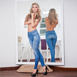 Wholesale Top Jeggings - Wholesale- NEW Fashion Women Denim Long Jeans Sexy Skinny Leggings Jeggings Stretch Pants Trousers Tops