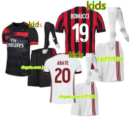 Wholesale Boy Top Quality - Top quality 2017 kids kits + Socks soccer Jersey AC 17 18 milan JerseyS MENEZ BONAVENTURA BACCA BERTOLACCI football shirts free shipping