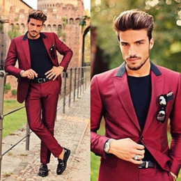 Wholesale Custom Made Wool Coats - Wine Red Peaked Lapel Men Suits Latest Coat Pant Designs Custom Made Homme Fashion Tuxedos Slim Fit Terno New(Jacket+Pants)