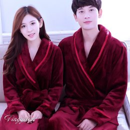 Wholesale Flannel Dressing Gown - Wholesale- Dressing Gowns For Women And Men Bath Robes Nightgown Winter Warm Flannel Pajamas Couples Bathrobe Kimono Robe Sleepwear