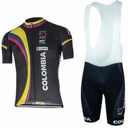 Wholesale Free Shipping Colombia - Free Shipping 2017 Colombia team cycling jersey bibs shorts set quick dry MTB Ropa Ciclismo cycling wear Pro BICYCLING Maillot Culotte C2907
