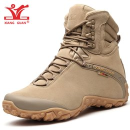 Wholesale High Top Boots For Women - Men High Top Waterproof Hiking Boots Combat Shoes for Women Cow Leather Suede Athletic Trekking Sports Snow Boot Outdoor Walking Sneakers 46