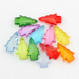 Wholesale Mixed Faceted European - Hot ! 300pcs 15x24MM Mix Color Acrylic Transparent Faceted Christmas tree Charm Pendant DIY Jewelry