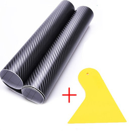 Wholesale Vinyl Wrapping Cars - 127*30CM 3D Carbon Fiber Vinyl Film Car Sticker Waterproof DIY Car Styling Wrap+Carbon Fiber Scraper Tools Auto Accessories