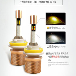 Wholesale Headlight Bulbs Replacement - 45W 5000LM dual color Car LED Headlights H4 H1 H7 H3 H11 9005 9006 9012 880 881 headlamp led bulbs replacement