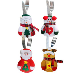 Wholesale flocking cloth - Tableware Set Non Woven Fabric Practical Knife And Fork Bag Creative Reindeer Santa Claus Snowman Christmas Decorations IC635