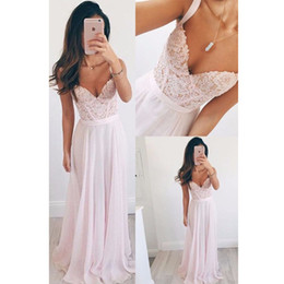 Wholesale Tank Strap Long Prom Dresses - Chiffon Lace Long Prom Dresses 2017 Beaded Sweetheart Tank Straps Seniors Straight Formal Evening Gowns Custom Made Party Gowns
