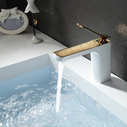 Wholesale Gold Plate Bathroom Mixer Tap - FLG Basin Faucet Gold Plated&Grilled White Painted Deck Mounted Vintage Sink Water Mixer Faucets Bathroom Taps,Free ShippingM257