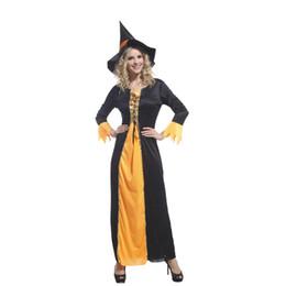 Traje preto laranja on-line-Xangai História Mulheres Bruxa Trajes de Halloween orange e black witch cosplay sexy dress