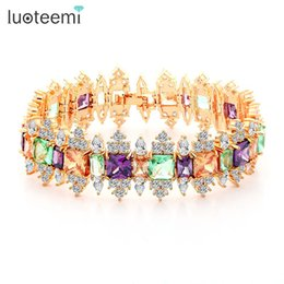 Wholesale Bracelet Multi Stones - LUOTEEMI New Luxurious Multi Colors CZ Stone Crystal Bracelets Bangles for Women Gift Bridal Wedding Party Jewelry Accessories