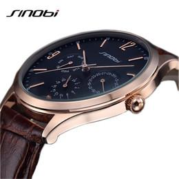 Wholesale Sinobi Watches Japan - Wholesale- 2016 relojes hombre ultra slim Top brand Quartz Watch men Casual Business JAPAN SINOBI Leather Analog Watch Men's Relogio gift
