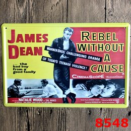 Wholesale Rolling Stones Stickers - Rolling Stone The Beatles Johnny Cash James Deam Vintage Craft Tin Sign Retro Metal Poster Bar Pub Signs Wall Art Sticker(Mixed designs)