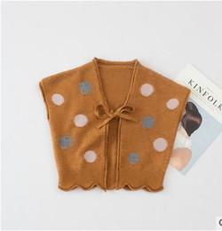 Wholesale Tie Printing Vest - Girls sweaters fashion kids Polka-dots printed waistcoat children bows tie Cardigan outwear kids vest Autumn Winter girls clothes G0842
