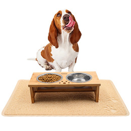 Wholesale Outdoor Dog Mats - Dog Raised Bowls Elevated Pet Feeder-with 1 Pet Feeding Mat & 2 bowls for Cats and Small Dogs
