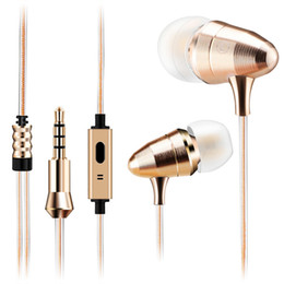 Wholesale Earphone Bullet - MoreBlue GK5 Luxury Metal Golden Bullet Earphones Earbuds HIFI Stereo Super Bass Headset Sport Running Headphones With Mic