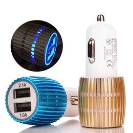 Wholesale Iphone Uk Travel Charger - Travel Adapter Dual USB Car Charger Metal 2 Ports Blue Led Light 2.1A Round Square Car Plugs Adapter For iPhone Samsung Huawei