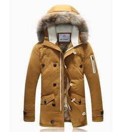 Wholesale Trench Coat Fur Hood - Wholesale- Thicken Men's Down Jacket Average 1.4KG pcs Long Section Leisure Winter Fashion White Duck Down Coat Faux Fur Trench Hood Parkas