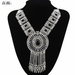 Wholesale Pendant Turquoise - SENHUA New Bohemian Tassel Crystal Pendant Colar Statement Necklaces Stone Turquoise necklace jewelry for women Collier Femme MN597