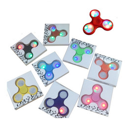 Wholesale Dr Toys - 2017 Light up Hand Spinners LED Bright Fidget Spinner Triangle Finger Spinner Colorful Double-sided light Decompression Toys DR-096