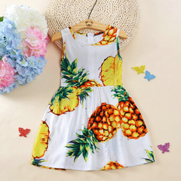 Wholesale Cheap Baby Vests Wholesale - Cotton ananas Beach dress printed pink yellow lemon vest girls dresses Cheap baby boutique clothing girls tutu Homewear
