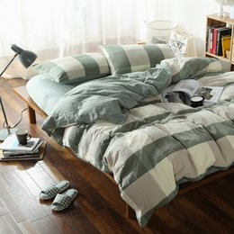 Wholesale Queen Size Vintage Bedding - 4pcs 100% Cotton Vintage wrinkle style fabric bedding sets queen size green plaid duvet cover fitted sheet 1.5m bed