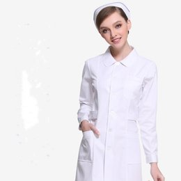 Wholesale Long Sleeve Professional Clothing - Pink white Long sleeve winter professional white coats Beauty pharmacy work clothes
