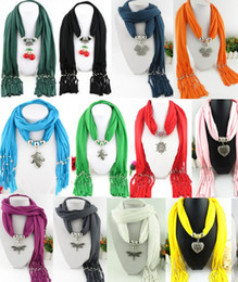 Wholesale Wholesale Cherry Scarf - Heart Snow Cherry Butterfly Dragonfly Shape Pendant scarf jewelry with beads Mixed 53 Design colorful scarves charms cross necklace
