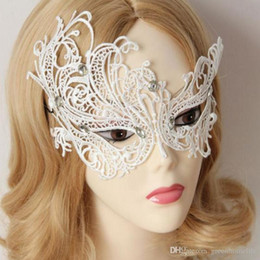Wholesale Princess Dresses For Adults - White Party Masks Sexy Women Lace Masks Elegant Venice Ball Masks Cosplay Princess Masquerade Party Fancy Dress Costume