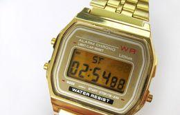 Relojes baratos online-2017 Ultra-delgado Oro frío LED luz relojes unisex hombres mujeres deporte causal Multifunción Metal Electrónica Digital Relojes Vestido Relojes
