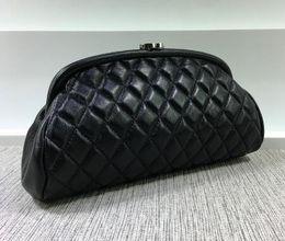 Wholesale Designer Lambskin Handbags - Women genuine leather handbags famous brand designer lambskin bag caviar leather ladies clutch purses evening bag makeup cosmetic bags charm