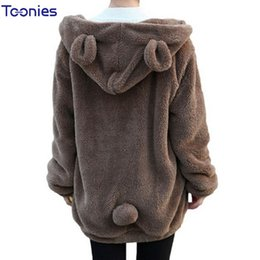 Wholesale Panda Bear Ears - Wholesale- Sudaderas Mujer 2017 Loose Fluffy Bear Ear Hoodie Hooded Jacket Warm Outerwear Coat Casual Kawaii Panda Hoodie Sweatshirt Women