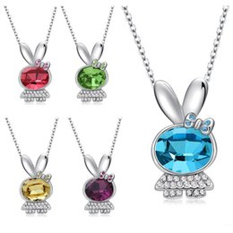 Wholesale Rabbit Head Necklace - Cute Rabbit Necklaces Simple Love Bunny Necklace Animal Head Face Necklaces for Women Ladies maxi statement fashion jewelry
