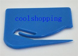 Wholesale Wholesale Paper Cutters - Durable Plastic Letter Mail Envelope Opener Mini Letter Knife Office Equipment Safety Paper Guarded Cutter BladeDHL Freeshipping