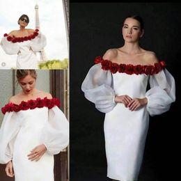Wholesale women off shoulder puff sleeve - Vintage Puff Sleeves Cocktail Dresses Off Shoulder With 3D Flower Knee Length Satin Bridesmaid Party Dress 2017 Women Formal Evening Gowns