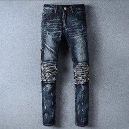 Wholesale Travel Pants For Men - Jeans AMIRI Blue Holes Jeans For Men Brand Designer Motorcycle Moto Biker Denim Men's Rock Punk Hip Hop Mens Pant Casual Travel Trousers