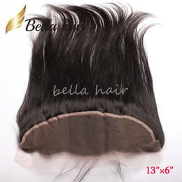 2019 cierre de pelo grande 13 * 6 pulgadas Oreja a oreja Cordón Cierre frontal Extensiones de cabello humano recto brasileño 13
