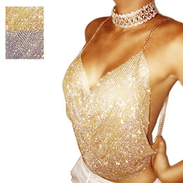 Wholesale Tank Tops Rhinestones - New Sexy Women V Neck Strap Crop Top Sequin Rhinestone Bandage Bodycon Club party Cocktail Tank Vest Blouse 2 Colors
