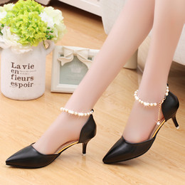 Wholesale Yellow Kitten Heels Wedding - Summer Elegant women milky white; pink; yellow solid color ring footband sweet fashion shoes
