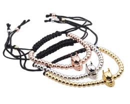 Wholesale Macrame Bracelet Pave Beads - Anil Arjandas Bracelet man 2017 Micro Pave Zircon crown Beads braiding Macrame Super hero Bracalet wristband woman AA331
