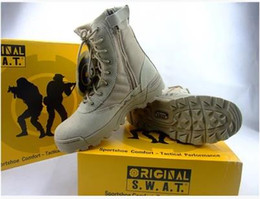 Wholesale Soft Leather Work Shoes - Tactical combat Army Brand Male Shoes Zipper Design Delta SWAT Military Boots Dro Non-slip soles mens shoes Waterproof uppers for outdoor