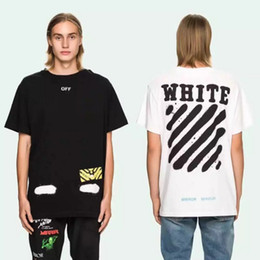 Wholesale Hot summer Europe and United states T shirt tee streets off white Diagonal stripes Spray painting hip hop black white palace shirts